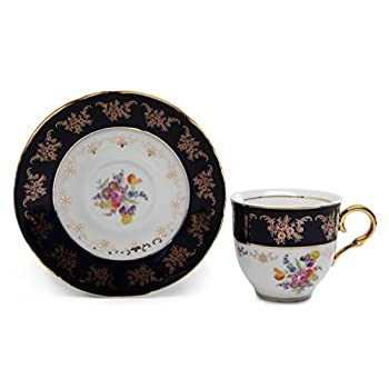 Royal Porcelain 17pc Flower-Patterned Dark Blue Tea Set, 24K Gold-Plated Original Cobalt Tableware, Service for 6