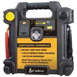 Cobra CJIC 250 300 Amp Portable Jump-Start/Air Compressor with A/C and D/C Power Outlets (Cobra Jump Starter Power compare prices)