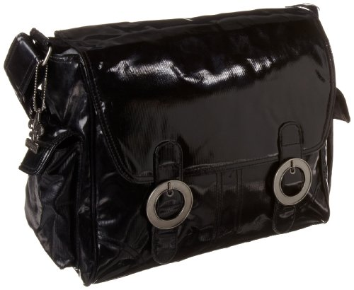 Kalencom Coated Double Buckle Bag, Black Corduroy
