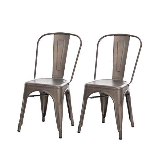 Buschman Set Of Two (2) Tolix Style Iron Chairs U2013 Dark Gun Metal Gray U2013  Indoor And Outdoor Armless Chairs With Back U2013 Sturdy And Stackable Vintage  Tabouret ...