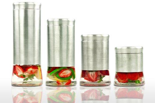 Imperial Home Mw1237 Stainless Steel Glass Bottom 4 Pieces Canister Set With Air Tight Lids