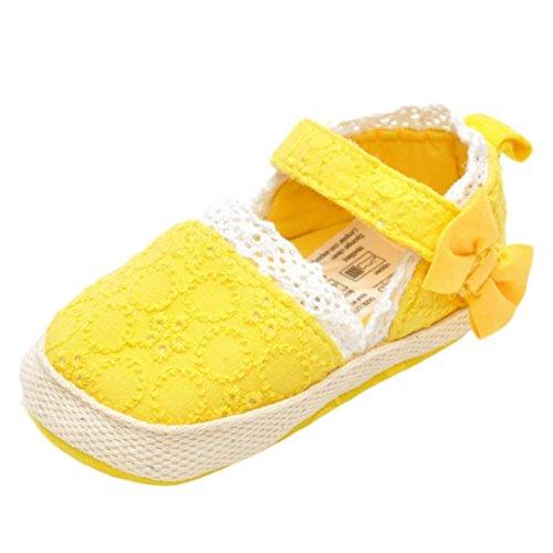 Flower Girl bambino sandali del bambino delicatamente solo delle scarpe da tennis casuali (12~18 Mesi, Giallo)