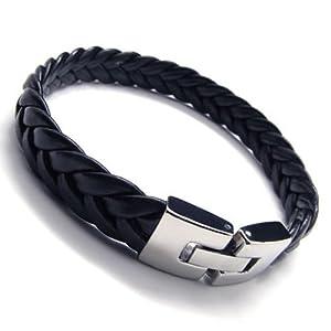 Konov Jewellery Men's Leather Stainless Steel Bracelet Bangle, Colour Black Silver, Length 9 inch by Pin Zhen