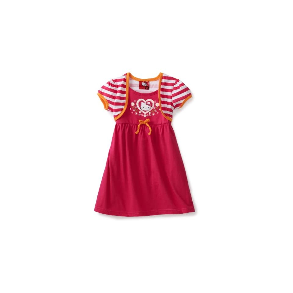 Hello Kitty Girls 2 6X Striped Shrug Dress, Pink, 2T