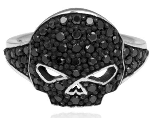 Harley-Davidson .925 Silver Black Bling Skull Womens Ring (8)