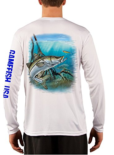 UPF 50 Microfiber Moisture Wicking Long Sleeve Performance Snook Fishing Shirts (X-Large, White) (Snook Fishing compare prices)