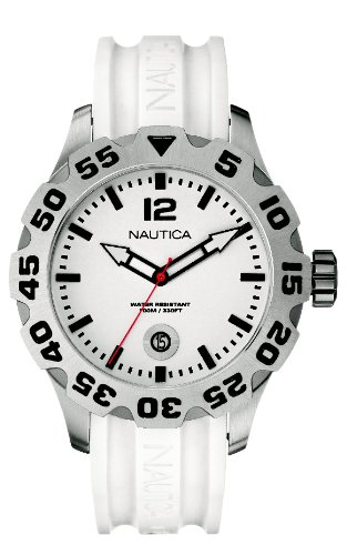 Nautica Men's Watch A14608G White Dial With White Resin Strap