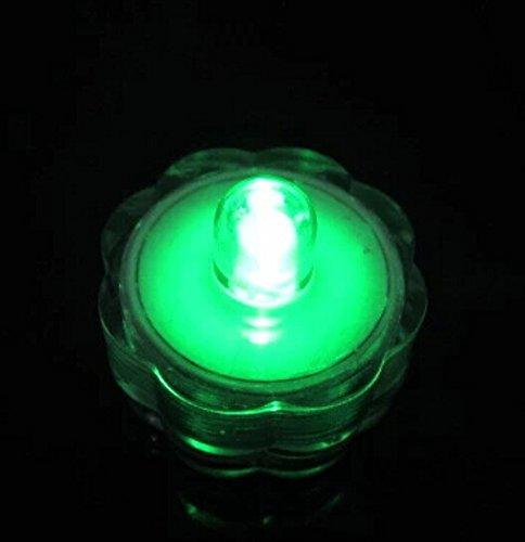 Domire Pack Of 12 Flower Shape Submersible Tea Lights Wedding Decoration Lights,Green