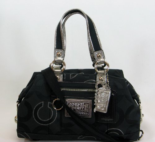 Coach Signature Poppy Lurex Duffle Satchel Bag Purse 15863 Black