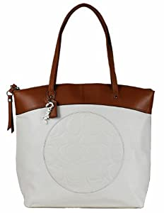 Coach Laura Leather Circle Embossed Signature Zip Tote F18336 Whitetoffee Only For $328.00