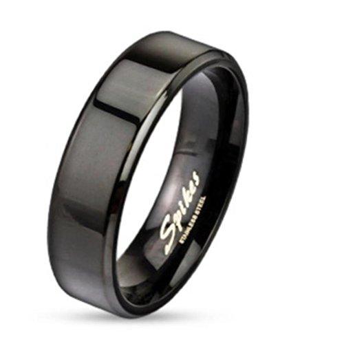 Paula & Fritz anello in acciaio inox 316L Nero Banda Piatta Edge 6mm larghezza disponibile (Kingdom Hearts Corona)
