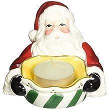 CG 10458 Santa Claus Holding Green/White Striped Tea Light