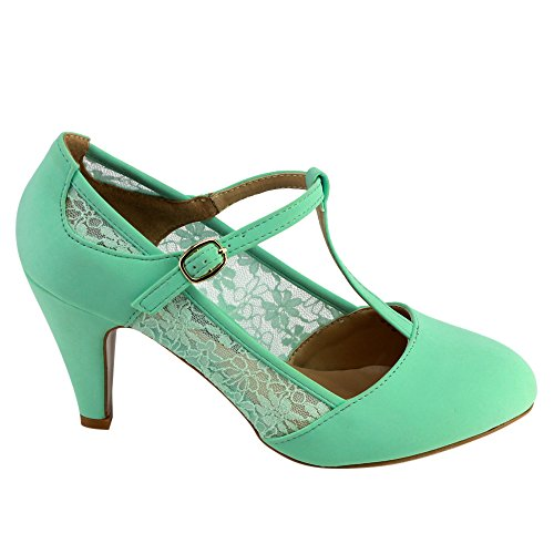 Beston CD49 Women's Mid Heel Round Toe Lace T-Strap Dress Pumps 1