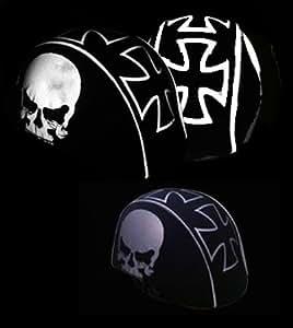 SkullSkins USA Made Reflective Helmet Covers (8 Styles) - Frontiercycle (Free U.S. Shipping) (Half Maltese Skull)