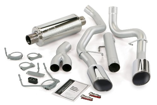 Banks Power 48703 Monster Diesel Duals Exhaust System; 4 in. In/Out; Incl. Turbine Outlet Pipe/Intermediate Pipe/Tailpipe/Muffler/6x5 in. Obround Polished Tips; Stainless Steel; Use w/o Cat Conv;