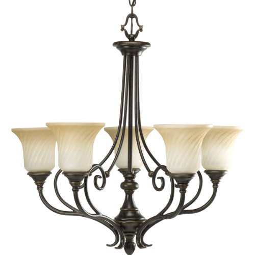 Progress Lighting P4238-77 5-Light Kensington Chandelier, Forged Bronze