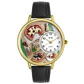 ピザ 黒レザー ゴールドフレーム時計 #G0310016