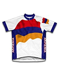 Armenia Flag Short Sleeve Cycling Jersey for Women