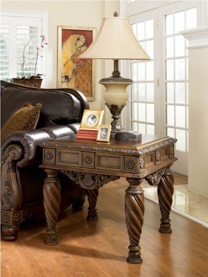 Cheap Old World Dark Brown North Shore End Table (T963-2)