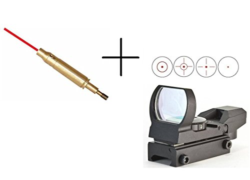 """Ultimate Arms Gear Tactical Crossbow Archery Arrow Red Laser Bore Sighter Sighting Boresighter Aiming Aluminum Device Tool Threads Onto Arrows + Multi 4 Reticle Red Dot Open Tubeless Reflex Scope Sight Adjustable Brightness With Weaver-Picatinny 7/8"""" Rail"""