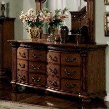 Bellagrand Solid Wood Antique Tobacco Oak Finish Bedroom Dresser