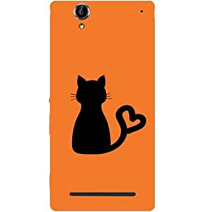Casotec Cat Heart Tail Design Hard Back Case Cover for Sony Xperia T2 Ultra
