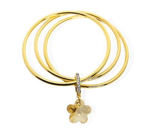 Cristalina 18ct Gold Plated Triple Band Bangle with Golden Flower Charm of Internal Diameter 63mm