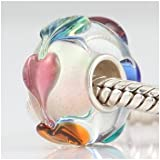 Love Goes Round Hearts Murano Glass Authentic 925 Sterling Silver Solid Core Charm Fits Pandora Chamilia Biagi Troll Beads Europen Style Bracelets