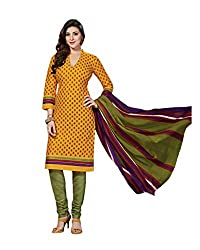 Drapes Women's OrangeCotton printed Dress Material (Unstitched) (DF1349,Orange,New)