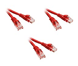 C&E 50 Foot Cat5e Snagless/Molded Boot Red Ethernet Patch Cable, 3-Pack (CNE51656)