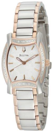 Bulova Women's 98R138 Diamond Case White Dial Bracelet Watch