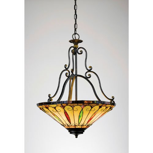 Quoizel TF1039IB Tiffany 27-Inch Pendant with Three Uplights, Gold Tint Finish