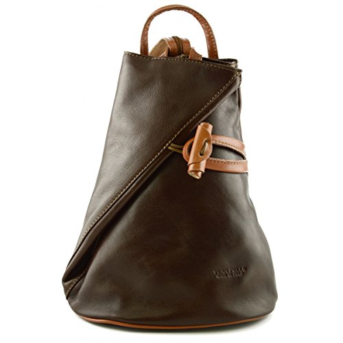 Zaino In Vera Pelle Per Donna Con Bretelle A Cerniera Colore Marrone Cognac - Pelletteria Toscana Made In Italy - Zaino