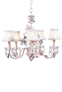 White Petal Flower Chandelier Shades on the Pink 5-Arm Crystal Flower Chandelier