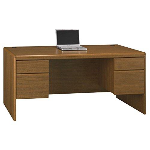 Bush Business Furniture Northfield Double Pedestal Desk, Dakota Oak (Oak Pedestal compare prices)