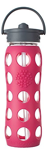 Lifefactory 22-Ounce Glass Bottle with Straw Cap and Silicone Sleeve, Raspberry