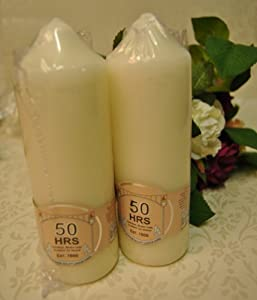 2X 50 Hour Large Church Pillar candle - Cream / Ivory Quality candle