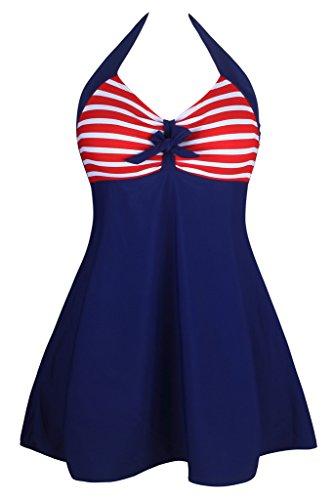 Aleumdr Women's Vintage Sailor Halter Red Navy Stripe Large