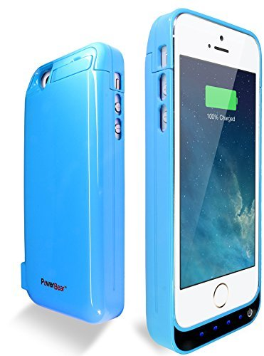 PowerBear iPhone 5S / iPhone 5C / iPhone 5  Extended Rechargeable Battery Case with Built in USB PowerBank with 4200mah Capacity  - Blue