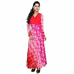 Madhus world Woman Pink Bits Full Sleeve Gown With Sequence & Moti Work _GN0004C