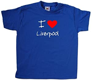 I Love Heart Liverpool Royal Blue Kids T-Shirt (White & Red print)-3-4 Years