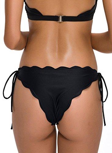 FanShou Women Brazilian Tie-side Scallop Solid Cheeky Bikini Bottom Swimwear Black M (Solid Side Bikini Bottom compare prices)