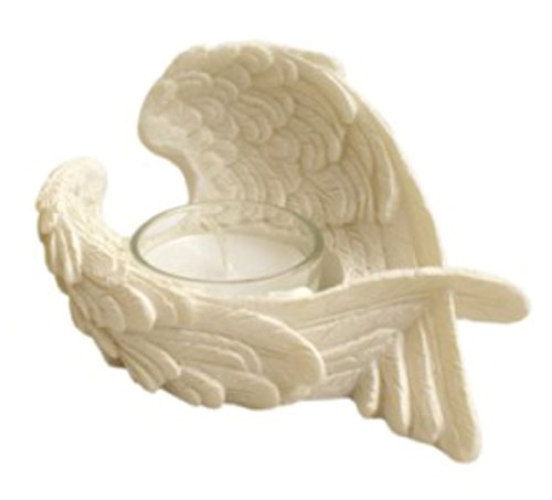 Angel Wings Candle Holder Resin Ornament - with Glass Votive Candle - Width 12cm (Right B) (Resin Wings compare prices)