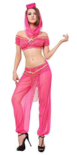 Kimring® Women's Shimmer Sequin Genie Srtapless Short Sleeves Belly Dance Crop Top and Pants Set Costume Rose (Sexy Belly Dance Costumes)