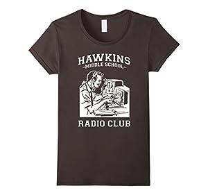 Women's Hawkins Radio Club Funny T-Shirt Stranger of Things XL Asphalt