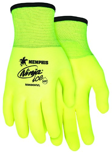 Memphis Glove N9690HVM Ninja Ice High Visibility Nylon Liner Double Layer Gloves with HPT Coating, Lemon Yellow, Medium