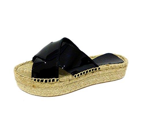 Chika10 Chicago 04 negro sandalo ciabatta con zeppa in corda in vernice nera n° 35