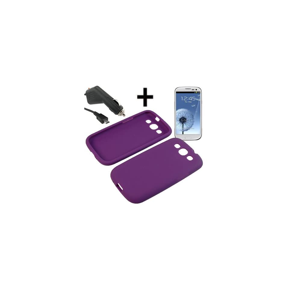 BC Silicone Sleeve Gel Cover Skin Case for AT&T, T Mobile, Sprint, Verizon, U.S. Cellular Samsung Galaxy S III i9300 i747 i535 L710 T999+ Car Charger Purple