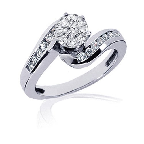 1.30 Ct Round Diamond Swirl Engagement Ring 14K 