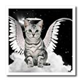 ht_62893_3 Doreen Erhardt Cats - Gray Tabby Cat Angel Sitting on a Cloud with a cute Halo and Angel Wings - Iron on Heat Transfers - 10x10 Iron on Heat Transfer for White Material